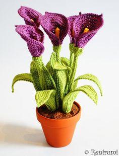 Häkelanleitung für Blumen im Blumentopf / diy knitting instruction for pretty flowers by Renirumis Kleinigkeiten via DaWanda.com