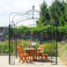 Finish off your outdoor living space with some of the glamour of the Art Deco age with the Achla Designs Allegro Pavilion Pergola . Hand-crafted by blacksmiths. Iron Pergola, Gazebo Pergola, Building A Pergola, Pergola With Roof, Wooden Pergola, Pergola Plans, Metal Pergola, Pergola Ideas, Garden Pavilion