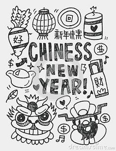 Illustration about Chinese New Year elements doodles hand drawn line illustration file. Illustration of festive, drawing, line - 48273162 Chinese New Year Crafts For Kids, Chinese New Year Activities, Chinese New Year Design, Chinese New Year Decorations, Chinese New Year Greeting, Chinese New Year 2020, Happy Chinese New Year, Chinese New Year Poster, Theme Nouvel An