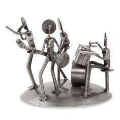Novica Armando Ramírez Rustic Recycled Metal Rock Musicians Sculpture