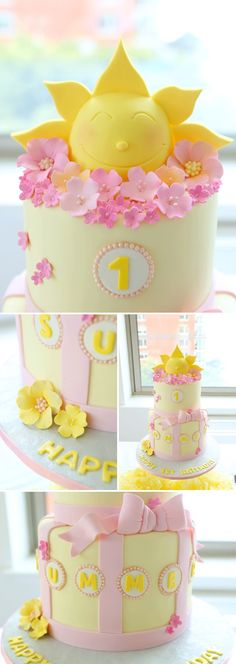 a beautiful sunshine themed birthday party: the cake pinned with Pinvolve - pinvolve.co