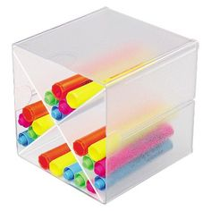deflect-o® Desk Cube with X Dividers, Clear Plastic, 6 x 6 x 6