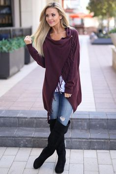 Sweet Refringe Cardigan - Wine