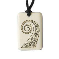 New Zealand Hand Carved Koru Tattoo Bone Pendant
