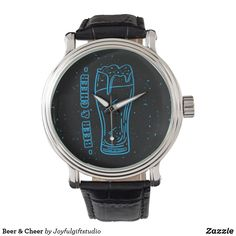 Shop Elegant Black Beer & Cheer Watch created by Joyfulgiftstudio. Vintage Leather, Vintage Men, Vintage Black, Out Of Style, Elephant Gifts, Cheer, Quartz, Mens Fashion, Watches