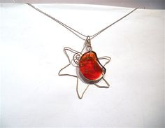 "Red moon and silver sun fused glasssterling by DartisanglassUSEcode""PINTERESTFRIEND""!!-20%until31march"