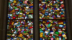 Stained glass reconstructed from fragments found after WW II bombings.