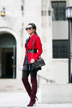 Belted :: Red blazer & Wide crossover belt