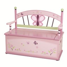 Wildkin Sugar Plum Toy Box Bench: Get more for your money with this storage toy box, which is doubled as a seating bench as well! Beautiful bench seat with butterfly and floral motif Slow-closing metal safety hinge. Perfect for your little one! Kids Storage Bench, Storage Bench Seating, Toy Storage Boxes, Toy Boxes, Storage Chest, Cheap Storage, Storage Compartments, Storage Ideas, Wooden Bench Seat
