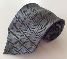 Siena Collezione Neck Tie Blue Tan Black Geometric 100% Silk #SienaCollezione #NeckTie