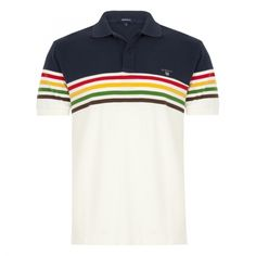 Multi Chest Stripes Pique Rugger - New Arrivals - Clothing - Men