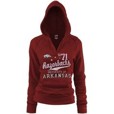 NCAA Arkansas Razorbacks Ladies Cardinal Rugby Distressed Deep V-neck Hoodie Sweatshirt (Medium) by Soffe. $35.95. Arkansas Razorbacks Ladies Cardinal Rugby Distressed Deep V-neck Hoodie SweatshirtLightweight pullover hoodie with soft fleece liningDistressed screen print graphics7.5oz. Lightweight fleece60% Cotton/40% PolyesterTrue junior fitFront pouch pocketDeep v-neckOfficially licensed collegiate productRib-knit cuffs, waist & hood trimImported60% Cotton/40% Polyeste...