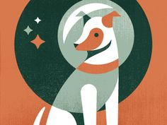 Laika the space dog illustration by Eric Mortensen.