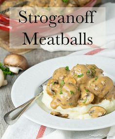 A comforting family-style meal that is fantastic served over mashed potatoes. #meatballs #stroganoff #casserole #familymeal #fallfood #fallrecipe #comfortfood #mushrooms #mushroomsoup #meat #beefmeatballs #groundbeef #kidfriendlyfood #dinner #compelledtocook #nicolebouliane #food #recipe #foodblog Fall Recipes, Beef Recipes, Meatball Stroganoff, Beef Tips, Mushroom Soup, Kid Friendly Meals, Ground Beef, Family Meals, Mashed Potatoes