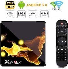 Met deze supersnelle android tv box X99 Max+ 4/64GB geniet je van alle online multimedia op je TV, stream series, films, muziek, games en nog veel meer. Een X99 Max+ Box heeft een HDMI-poort, een bekabelde internetaansluiting en dual wifi. Streamen van multimedia is dankzij de snelle S905x3 Quad-core Cortex-A55 een genot. Android Tv, Box, Meet, Film, Phone, Movie, Snare Drum, Telephone, Film Stock