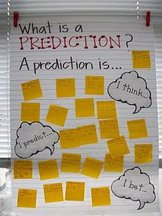 Making predictions--have students guess what a prediction is, then show pictures of partial animals and have students make a prediction of what it is, then discuss making predictions with books: the importance of covers, pictures, text, and experience.
