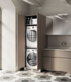 142 minimalist small laundry room organization ideas -page 37 Laundry Bathroom Combo, Laundry Room Cabinets, Laundry Room Organization, Laundry Room Design, Downstairs Bathroom, Small Bathroom, Organization Ideas, Traditional Dining Room Furniture, Ideas Baños