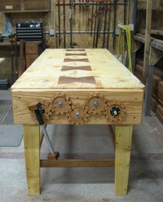 This beautiful workbench makes the perfect platform for developing woodworking jobs of all. >>> To view further for this article, visit the image link. Woodworking Tools For Beginners, Woodworking Bench Plans, Workbench Plans, Woodworking Workbench, Woodworking Shop, Woodworking Projects, Woodworking Classes, Wooden Gears, Carpenter Work