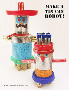Robots made out of recycled materials mymommystyle for Projects made out of recycled items