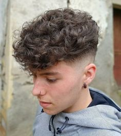 Curly haircut with mid fade.    #menshair #menshaircuts #haircutsformen #haircuts #coolhaircuts #menshairstyles #hairstylesformen #newhaircuts #mediumlengthhaircuts #menshaircuts2018 Perm Hair Men, Hair Fades For Men, Men Haircut Curly Hair, Mens Hair Fade, Men With Curly Hair, Man Haircut Medium, Curly Hair Cuts, Men Perm, Medium Hair Cuts
