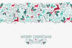 Christmas seamless pattern + label by Cienpies Design on Creative Market
