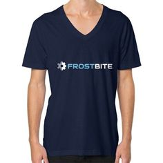 Logo And Name With Frost Being Blue V-Neck (on man) Shirt