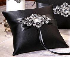 Black Satin Wedding Ring Pillow - Pink Frosting Wedding Supplies