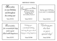 card sentiments | BIRTHDAY CARD VERSES