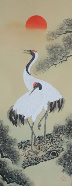 Japanese hanging scroll Crane and sunrise painting Written on silk Art hsky1-172