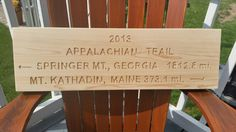 "Custom carved cedar sign for a ""Through Hiker"" by Adirondack Jims Carved Signs"