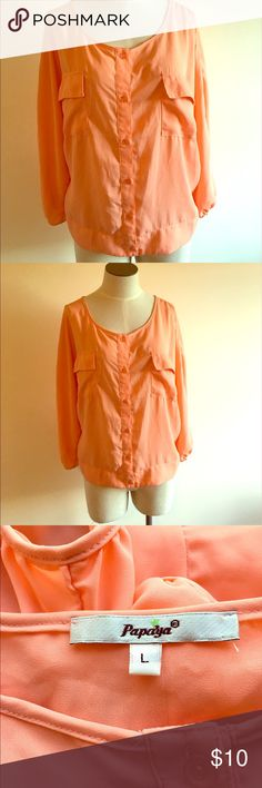 ⭐️Elegant Coral Button Up Papaya Top⭐️ ⭐️Elegant Coral Button Up Papaya Top⭐️ size large. Papaya brand. Coral color. Very lightweight. Perfect for summer. Button up blouse. Great condition! Next day shipping. Alll sales are final Papaya Tops Button Down Shirts