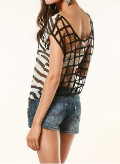 Caged Zebra Top,  Top, zebra print top, Chic