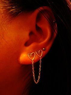 Double Piercing Double Heart Earring  14kt by DoubleHeartsTreasure, $18.00