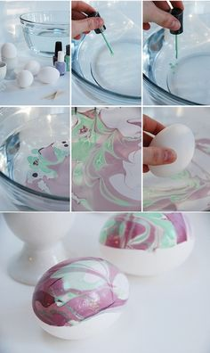 Mint & Purple Nail Polish Marbled Eggs for Easter, DIY Easter Egg Decorating Ideas, Easy Homemade Crafts