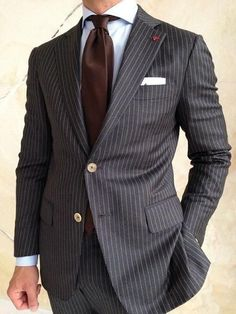 Grey Stripes Men's Suit Slim Fit 2 Piece Tuxedo Suit #menssuitsgrey