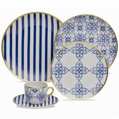 """Aparelho de Jantar Redondo 30 peças em Porcelana """" Serve até 6 pessoas"""" Incluso Pires e Xícaras para Chá Azulejo Português Coup Lusitana - Oxford"""