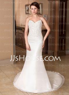 Mermaid Sweetheart Court Train Taffeta Wedding Dress With Ruffle Lace Beadwork (002000137)