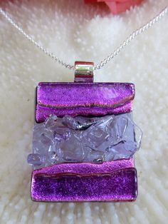 Transparent purple and dichroic pink fused glass by FoxWorksStudio