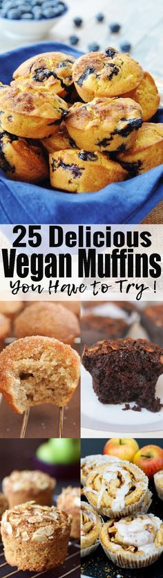These vegan muffins make the perfect vegan breakfast or snack! They're so delicious and all pretty easy to make! Find more vegan desserts at veganheaven.org!
