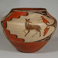 Pueblo Indian Pottery | Zia Pueblo Polychrome Pictorial Olla [SOLD]