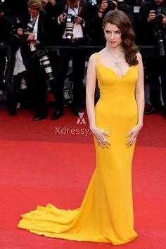 Anna Kendrick Yellow Mermaid Dress Cannes Film Festival 2016 Red Carpet
