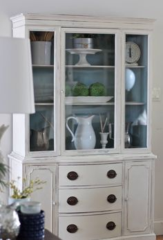 Annie Sloan old white and duck egg painted hutch @ https://www.facebook.com/perfectlyimperfecthome/