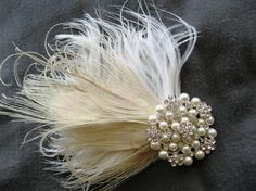 Wedding, Bridal Bleached Peacock Feather and Brooch Hairpiece