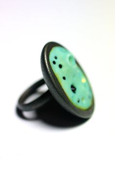 Space Algae Ring  Black Steel with Glowing by LemantulaDesigns, $68.00