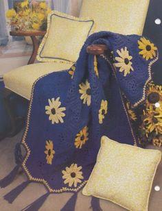 Cone-Flower-Annie-039-s-Attic-Crochet-Quilt-amp-Afghan-Pattern-Club-Leaflet-13-1-04
