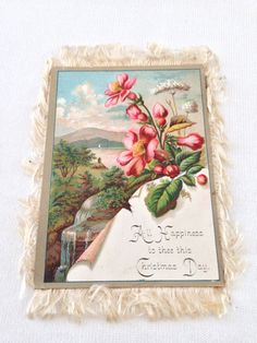VTG  Victorian Silk Fringed 2-Sided Christmas / New Years Card -- BEAUTIFUL