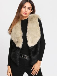Shein Color Block Faux Fur Vest