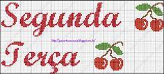 Jana Artes Manuais: Gráfico Semaninha - Cerejinha Bullet Journal, Cross Stitch Art, Diy And Crafts, Home Decorations, Lyrics, Photos, Pintura