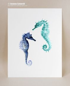 Seahorses fine art giclee print Seahorse wall by ColorWatercolor