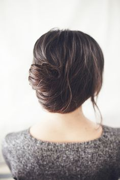 French Twist: http://www.stylemepretty.com/living/2015/02/24/chic-10-minute-hairstyles-to-try/